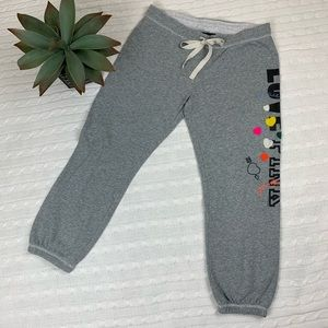 PINK VS gray love pink peace heart joggers